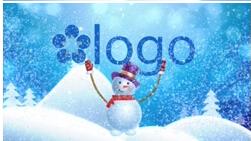 雪人雪花飞舞LOGO标志AE模板