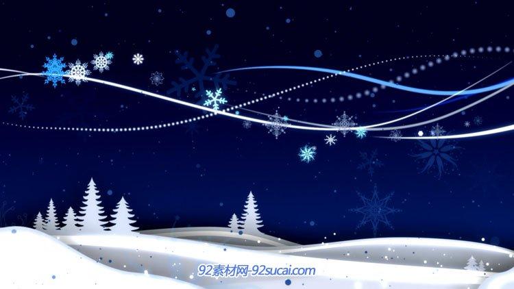 4组冬天雪地松树雪花线条运动动画 蓝色视频背景素材