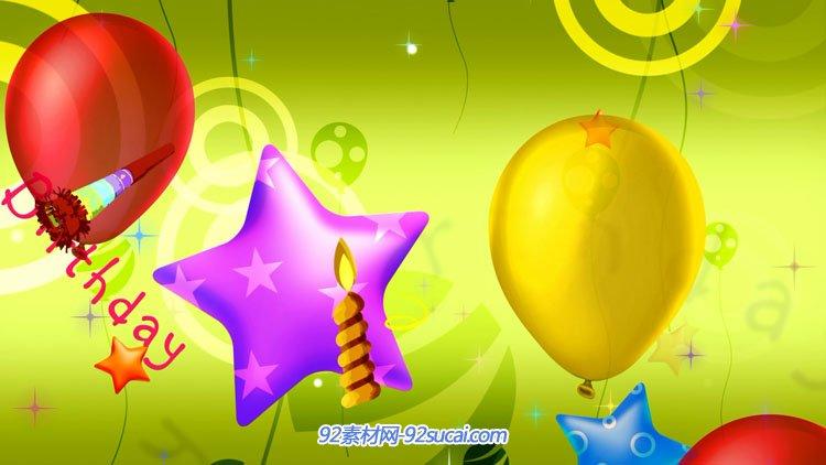 3组清新卡通儿童 生日的气球动画 happy birthday 背景视频