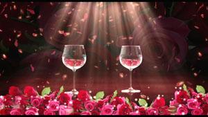 浪漫玫瑰花酒杯 新人交杯酒 花瓣飘落婚礼庆典视频背景素材
