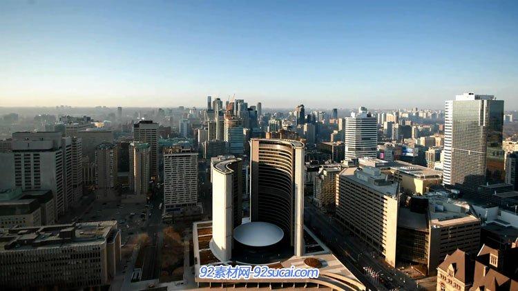 延时摄影加拿大城市航拍夜景 城市日落高楼交通车流人流日夜交替