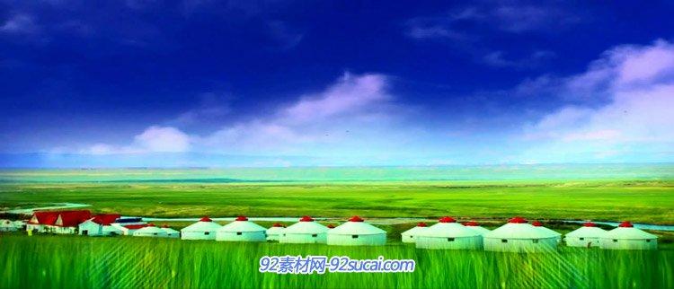 青青草地高原 蒙古帐蓬绿色草原现春意动态背景视频素材