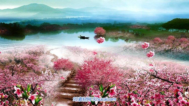 唯美浪漫世外桃园 桃花源青山绿水仙境花瓣飘动 舞台背景视频素材