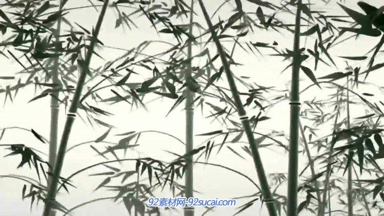 中国风水墨女子长袖舞 水墨金鱼游竹林竹叶飘 水墨山河泛舟视频