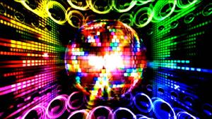 酒吧迪斯科喇叭炫彩球球 动感音乐舞台背景视频素材
