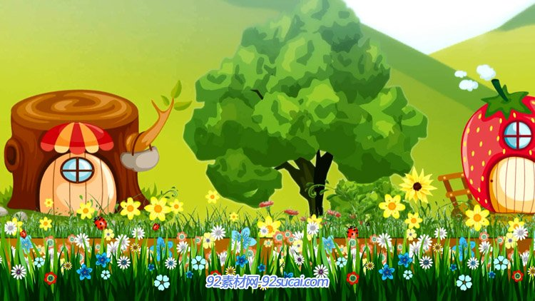 小鸟唱歌铅笔房子草莓屋树桩森林童话故事卡通儿童节目背景视频图片