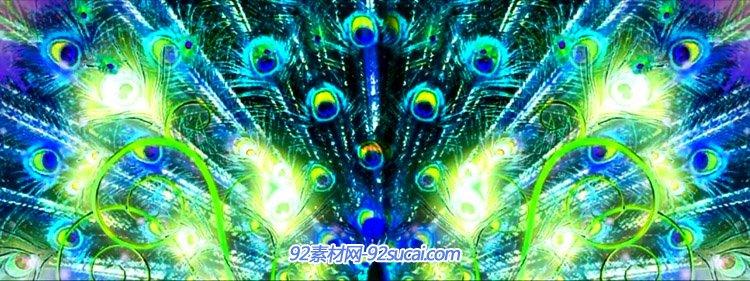 唯美孔雀羽毛飞舞荧光粒子孔雀舞歌曲LED舞台背景视频