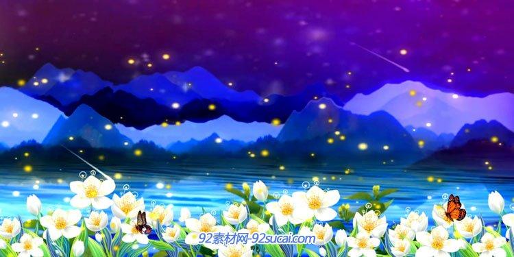梦境唯美妙一朵优美的茉莉花雨夜河岸小镇小桥凉亭江中泛舟视频