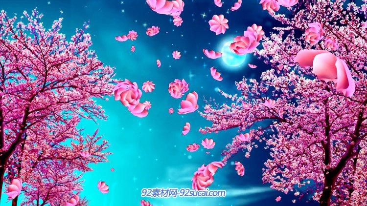 浪漫樱花树 鲜花掉落花瓣飘落动画舞台背景动态视频素材