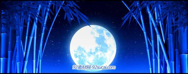 荧光蝴蝶群飞舞圆月空竹海上映明月云上月亮孔雀开屏舞台背景视频