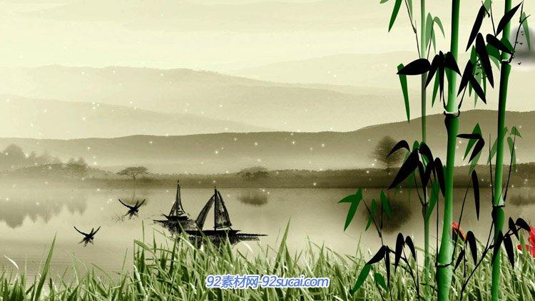 中国风水墨系列 水墨江南小河泛舟 河岸空竹青草鲜花背景视频素材