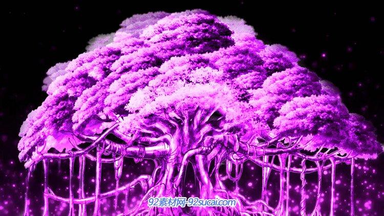 紫色森林神秘的梦幻树 童话色彩婚礼婚庆led屏幕舞台背景视频