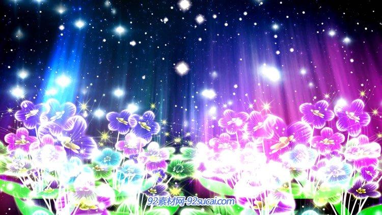 唯美梦幻的水彩花 幽蓝小花动画LED歌曲舞台背景视频素材