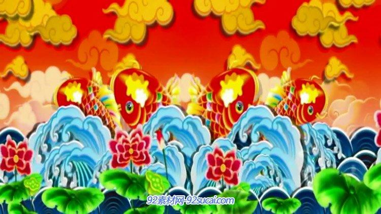 喜庆中国新年春节必备开场背景素材 年年有余动态背景视频素材