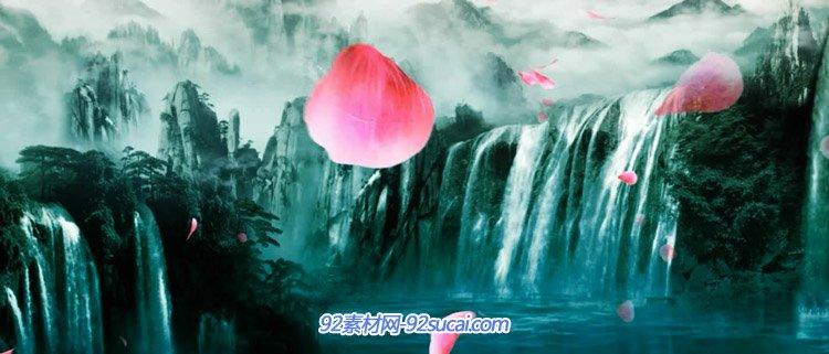 唯美夢幻的山水瀑布仙境風景動畫 花瓣飄落 高清動態背景視頻素材