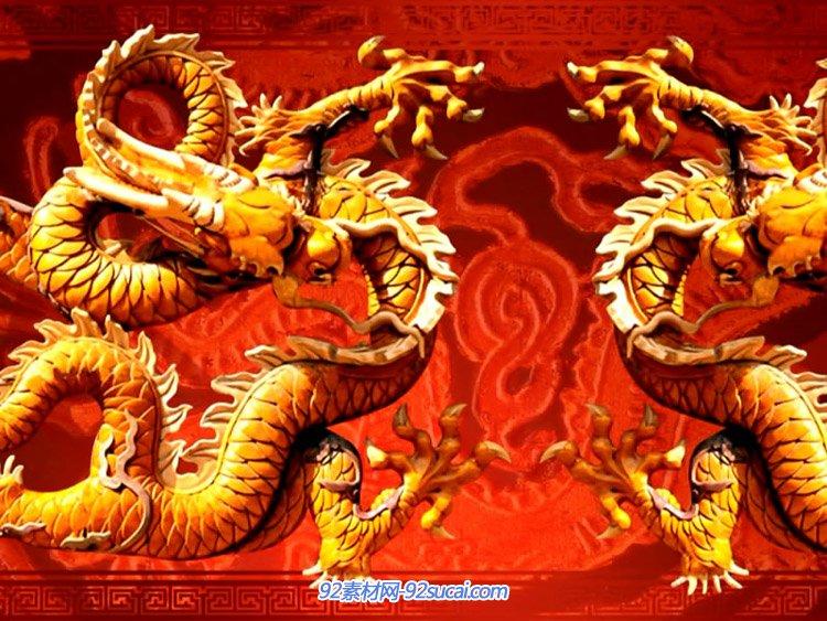 羊年喜庆背景中国风之祥龙祈福 金龙飞舞动画开场背景视频素材
