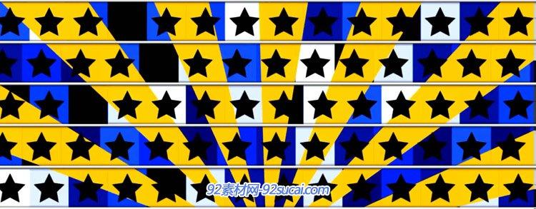 韩国风格劲爆快节奏动感舞曲五角星星方格动画LED舞台背景视频素