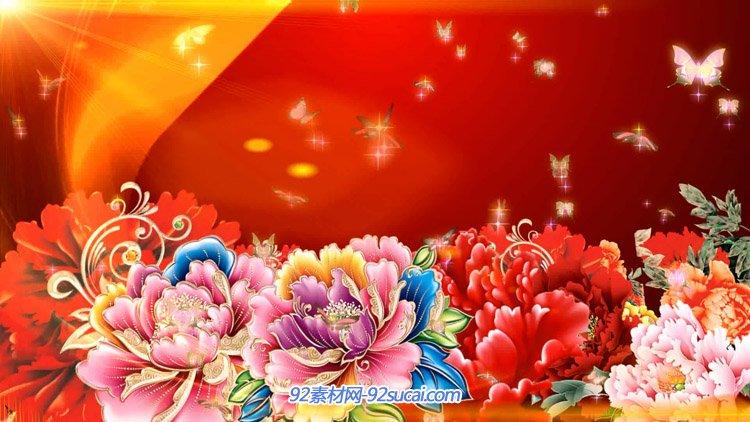 华丽富贵牡丹花开蝴蝶飞舞 中国风喜庆新春节日舞台背景视频素材