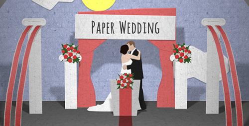 纸片翻页婚礼婚庆引见AE模板 Paper Wedding Opening