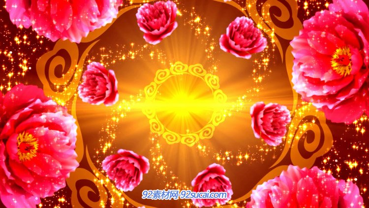 旋转贫贱牡丹花 中国风婚庆喜庆舞台晚会 LED大屏幕配景视频素材