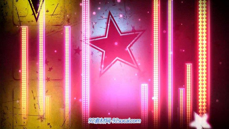 炫动闪耀五角星光柱 动感舞台背景动态视频素材