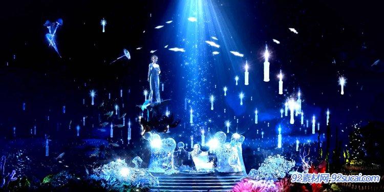 唯美蓝色梦幻海底神话故事美人鱼游玩钻石精灵舞台背景视频素材