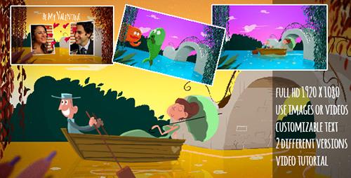 美人鱼情人节卡通动画AE模板 A Fishy Valentine Cartoon