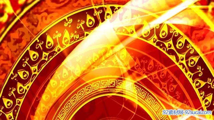 喜庆花纹中国结新年春节联欢晚会 led舞台背景视频素材(有音乐)