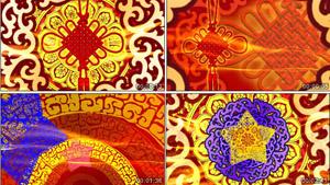 喜庆花纹圈圈运动剪纸中国结新年春节联欢晚会舞台背景视频素材