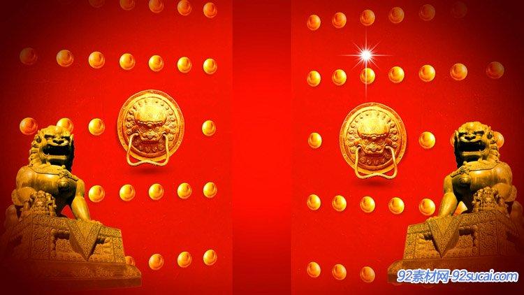 喜庆中国风鞭炮燃放开门大红灯笼动画新年春节舞台配景视频素材