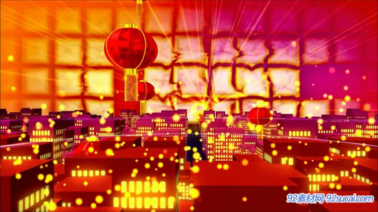 喜庆3D城市热闹欢快场面烟花燃放灯笼升天LED舞台背景动态视频素