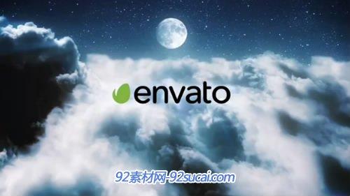 夜晚天空云层标志logo展示ae模板 clouds-in-a-night