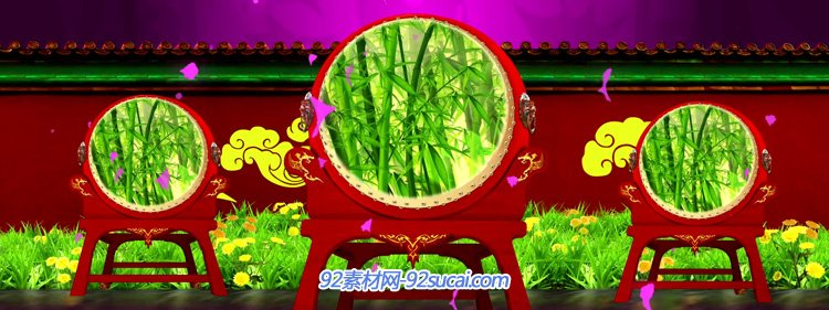中国风民族民歌喜庆红歌中国梦红绸牡丹花瓣大鼓舞台背景视频素材