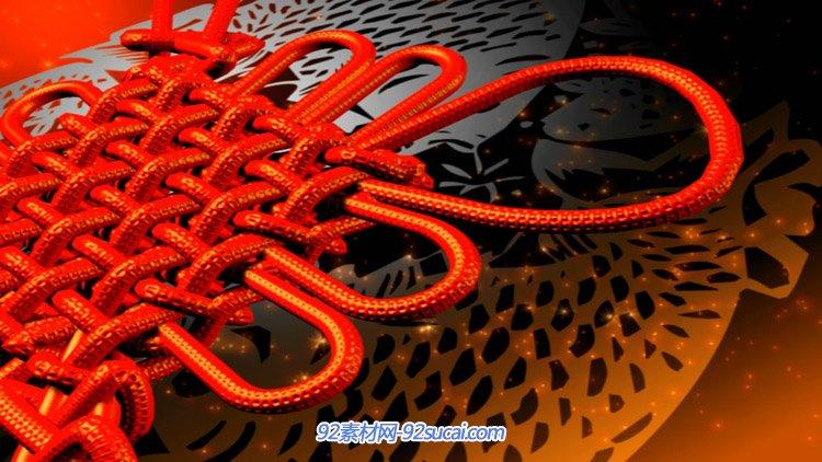 2015新年春節人和國家 中國結復古紅燈籠開場片頭AE模板視頻素材
