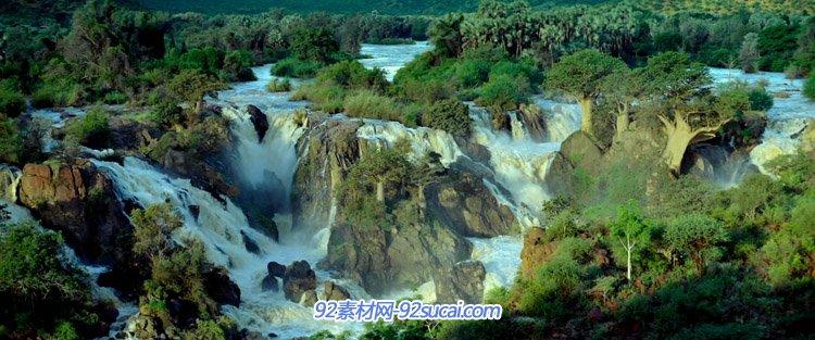 著名旅游景点自然风光高清实拍壮观安哥拉埃普帕瀑布epupa falls