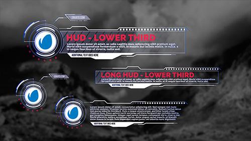 信息科技作风栏目包装字幕条AE模板 HUD - Lower Thirds