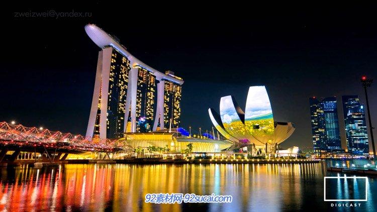 新加坡宣传延时摄影 城市旅游风光建筑景观 灯光夜景高清实拍素材