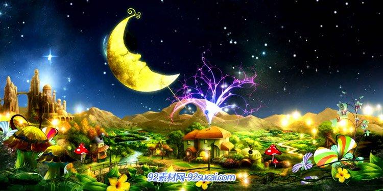 卡通月牙唯美彎月亮 卡通國度夢幻風景舞臺背景高清動態視頻素材
