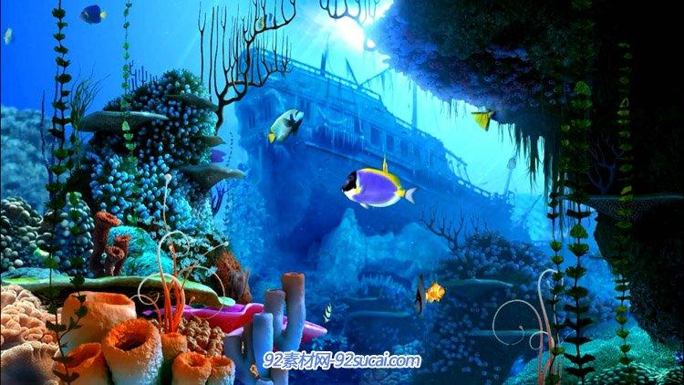 高清3d海底世界海洋浪漫婚礼 海底游鱼风景led背景动态视频素材