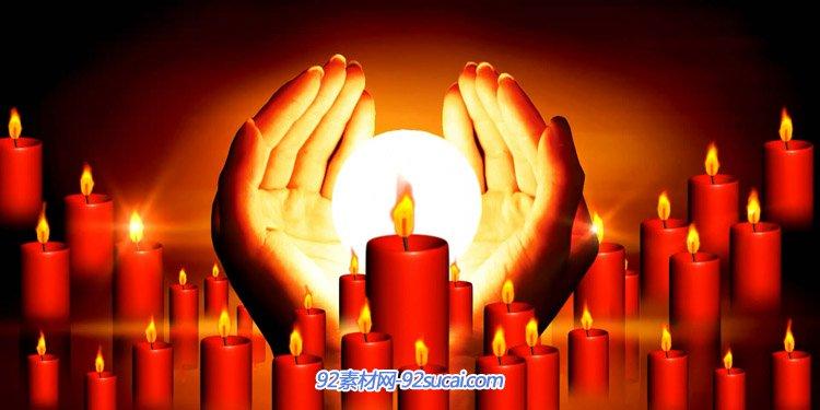 爱心蜡烛 祈福大树生命之歌慈善捐助献爱心 LED舞台背景视频素材
