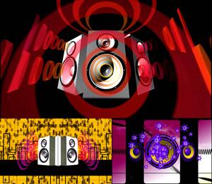 3组动感节奏 震撼喇叭酒吧夜场舞台 大屏幕背景动态视频素材