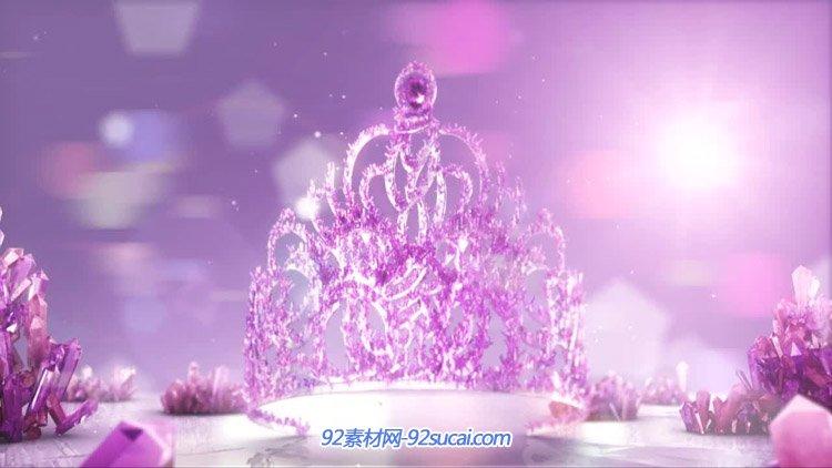 极品大气水晶女王公主的皇冠 婚礼婚庆片头 高清配景静态视频素材