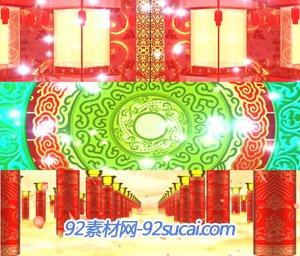 喜庆民俗歌曲和谐中国剪纸牡丹新年春节联欢晚会晚台背景视频素材