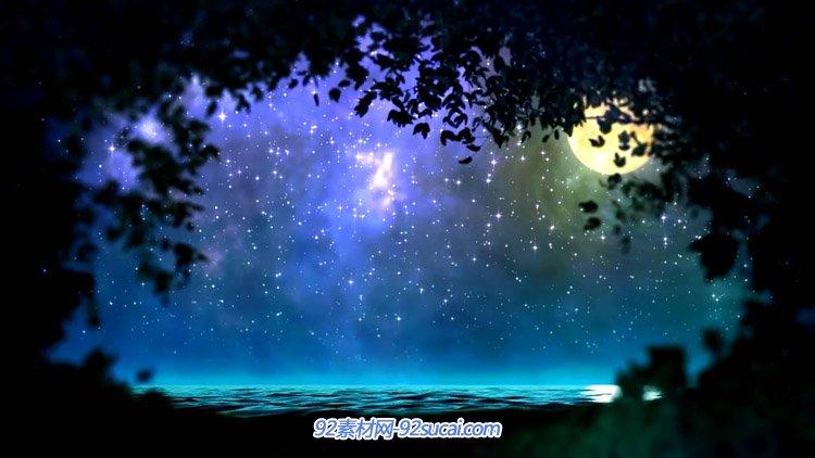 梦境唯美丛林夜晚的星空 海上明月舞台配景静态视频素材(有音乐)