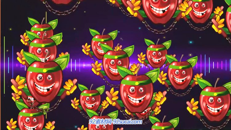 炫彩歌曲小苹果卡通舞蹈动画 LED大屏幕舞台背景动态视频素材