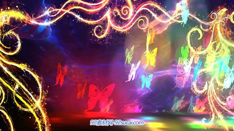 大气唯美蝴蝶飞舞幻影 印度芭蕾舞蹈LED屏幕舞台背景动态视频素材