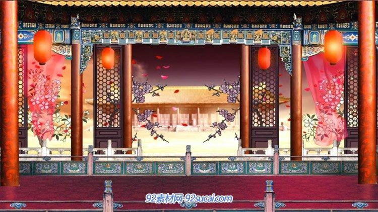 中国风古色古香梅花花瓣飘舞京剧唱戏台戏曲舞台背景动态视频素材