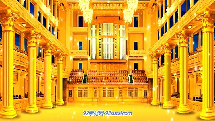 豪华金色大厅 浪漫高端奢华教堂宫殿 婚礼婚庆动态背景视频素材