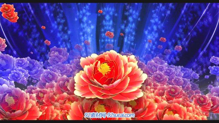 中国美牡丹灯笼红绸 联欢晚会喜庆民族风 舞台背景动态视频素材