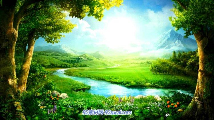 唯美春天景色绿色生态环保草地森林大树小溪小花高清动态视频素材
